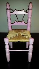 """Pink Ladder Back Chair Doll/Bear Woven Jute Seat 12-1/4""""H x 6""""W *Special*"""