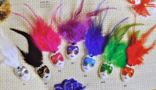 1 Mini Mardi Gras Feathered Glitter Clip Mask Venetian Masquerade Decoration