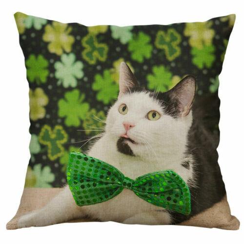 Patrick/'s Cotton Decor Cover Cushion day Pillowcase Print Home Linen Dog 18/'/'St