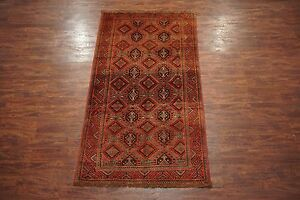 Persian-5X10-Baluchi-Antique-Gallery-Runner-Tribal-Hand-Knotted-Wool-Rug-Abrash