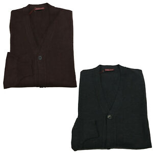 abd393a47a Image is loading RODRIGO-mens-cardigan-with-button-and-pockets-100-
