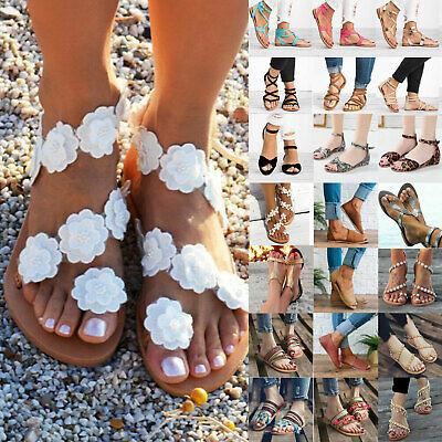 Womens Summer Boho Floral Bandage Flip Flops Sandals Beach Slip On Flats Shoes | eBay