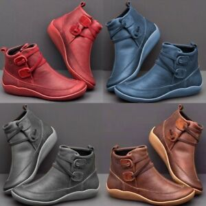 women winter boots arch support ankle wedge heel flat lace