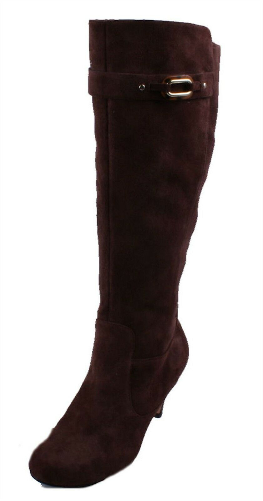 Cole High Haan Lana Donna Chestnut Suede Leather Knee High Cole Heel Boots size 8 4f2488