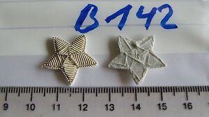 Sterne-Schweden-silbern-Handgestickt-ca-23mm-1-Paar-B142