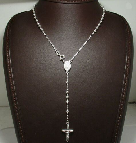 "3mm Rosary Chain Necklace Cross Crucifix Real Solid Sterling Silver 16/"" 24/"""