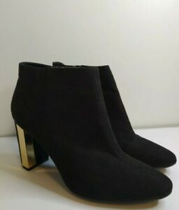 Black-suede-Boots-By-George-Size-7-with-pretty-metallic-heel-Party-night-out