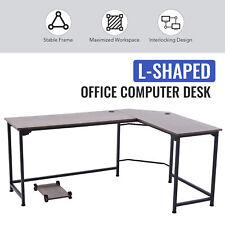 L Shaped Computer Desk W Tower Shelf Cable Management 47x19 66x19 Sides Walnut