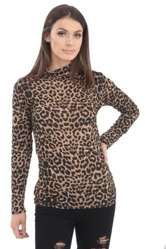 Ladies Women Leopard Print Long Sleeve Turtle Polo Neck T-shirt Top