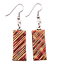 """thumbnail 1 - Dichroic Glass Earrings  Copper Red Gold Orange Ripple 1"""" Dangle Surgical Wire"""
