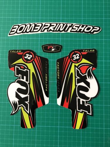 Fox 32 fourche talas stickers decals graphics vtt down hill mtb rouge vert
