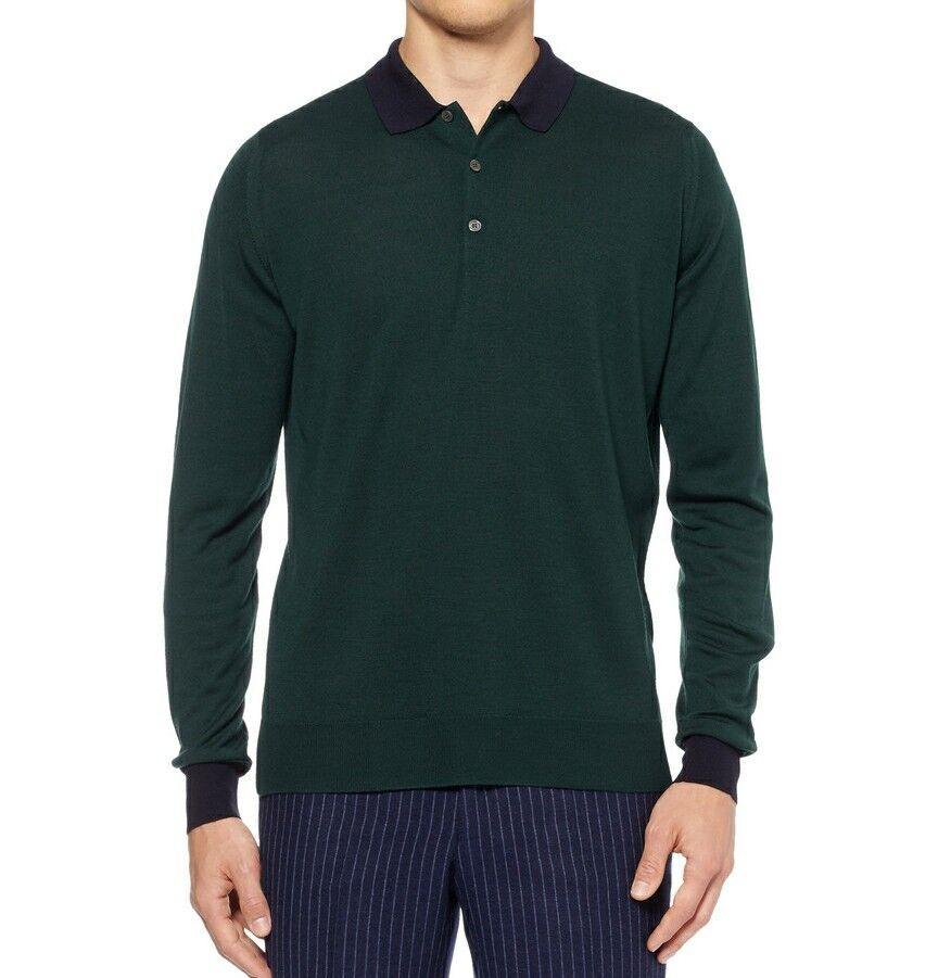John Smedley merino wool long sleeve polo