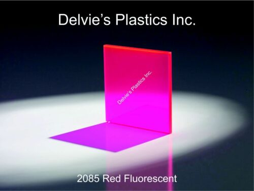 "5 Sheets 1//8/"" 2085 Fluorescent Red Cell Cast Acrylic Sheet  12/"" x 24/"""