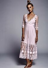 NEW Free People baby pink Sheer Embroidered Floral Mesh Maxi Dress mini slip XS