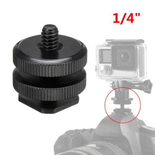Tornillo de montaje 1//4 a Flash Cámara Hot-Shoe Adaptador Luz Stand Tuerca Para GoPro DSLR