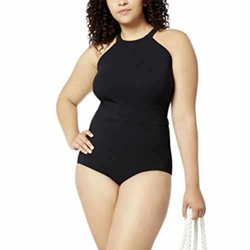 Profile by Gottex Swimsuit 16w One Piece High Neck Black Mesh Cutout Plus  Size