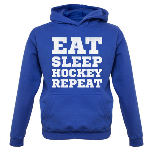 Eat Sleep Hockey Repeat Kids Hoodie Field Grass Sport Team Gift Love Player