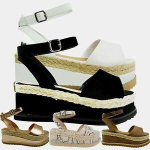Femmes mi Compensé Paltes Espadrilles Sandales Mules Taille de Chaussure Noeud