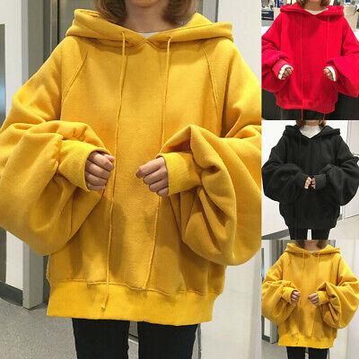 Womens Winter Hooded Sweatshirt Oversize Hoodie Jumper Cardigan Sweater Tops fz