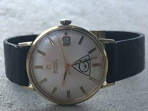 REMARKABLE-GENTS-OMEGA-SWISS-AUTOMATIC-DATE-GOLD-FILLED-1960-s-FACTORY-ORIGINAL