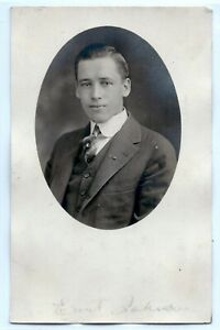 Handsome-young-man-blue-eyes-suit-Chicago-real-photo-postcard-RPPC