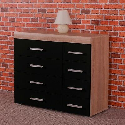 Wide Chest of 4+4 Drawers in Black & Sonoma Oak Effect Bedroom Furniture 8 Draw