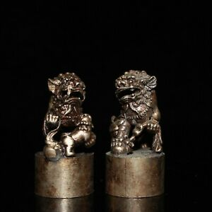 Collect Fengshui silver copper carved Pair Foo Fu Dog guardian Lion Statue seal