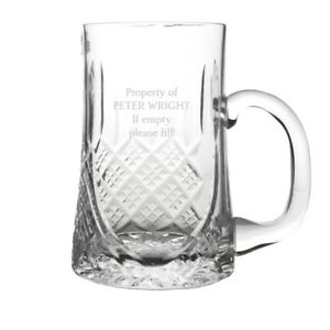 Personalised 24/% Lead Crystal 1 Pint Tankard and Black Gift Box Engraved