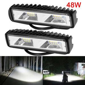2X-LED-Arbeitsscheinwerfer-Light-Bar-48W-Offroad-Flutlicht-Strahler-12V-24V