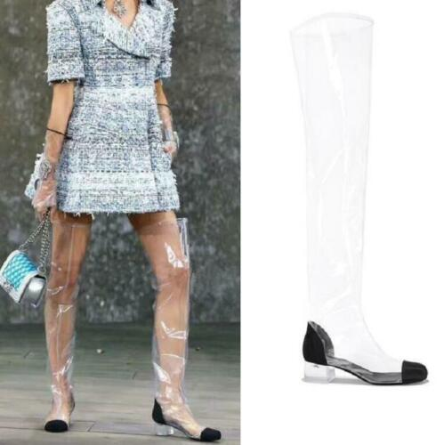 Women Crystal Block Heel Transparent Clear Waterproof Over Knee High Party Boots