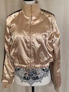 RARE-Baby-Phat-Bomber-Jacket-Womens-Gold-Animal-Sequin-Embellished-Size-Large