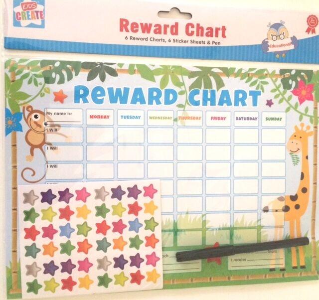 Reward chart Child's Motivation Jungle theme  (6 sheets, 6 sticker sheets & pen)