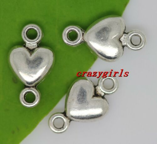 50//200//1000pcs Tibetan Silver Two-Sided Heart Charms Connector DIY 10x6mm