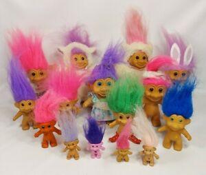 vintage Troll Doll LOT OF 15  Russ, Ace Novelty, Good Luck Trolls Eraser