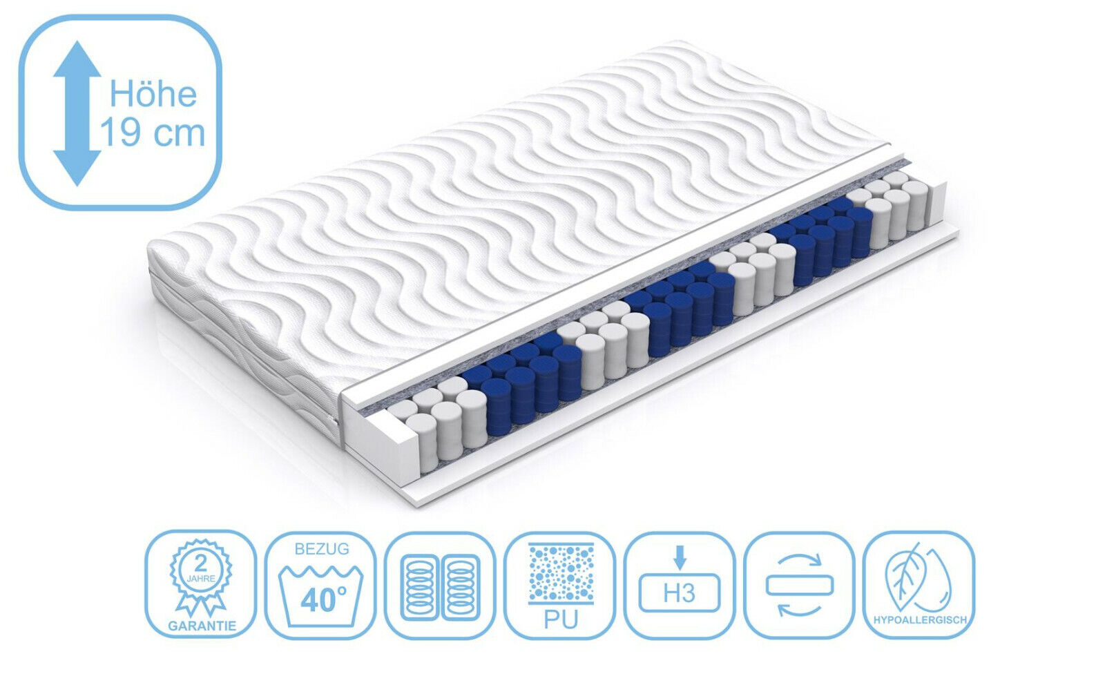 Taschenfederkernmatratze mit Matratzenbezug 140x200 19 cm Matratze H2 Komfort