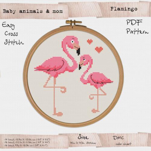 Baby Flamingo with mom Embroidery Cross stitch PDF Pattern #254