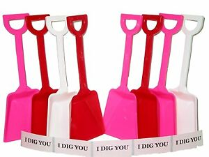 72 (24 ea) Red White Pink Toy Plastic Shovels & 72 I Dig You Stickers Mfg USA
