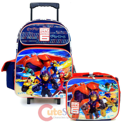 Big Hero 6  Large School Roller Backpack Lunch Bag 2pc Set  Hamada Baymax City