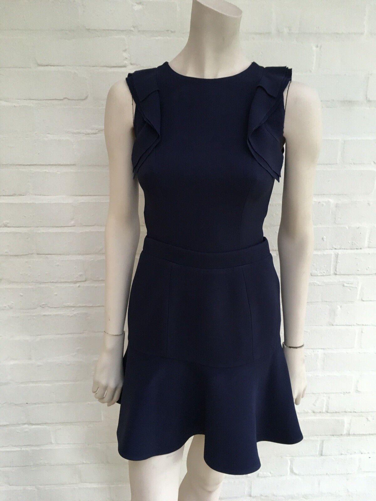 Ex m/&s Bleu//Noir//Blanc Froncé Haut Robe Longue-petite//Reg//Long-Tailles 8-22