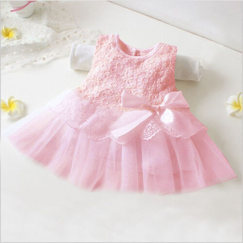 Infant Baby Flower Girls lace Party Dress Pageant Bridesmaid Tutu Tulle Dresses