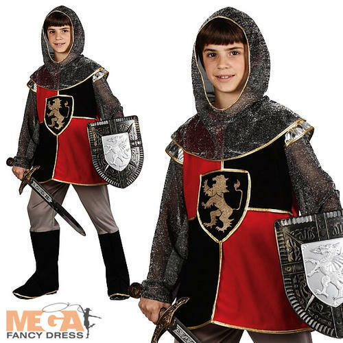 Knight of the Realm Boys Fancy Dress Medieval Crusader Kids Child Costume Outfit