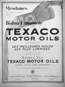 AD PRINT Original 1925 - CAN TEXACO MOTOR OILS CONTINENTAL PETROLEUM COMPAGNY