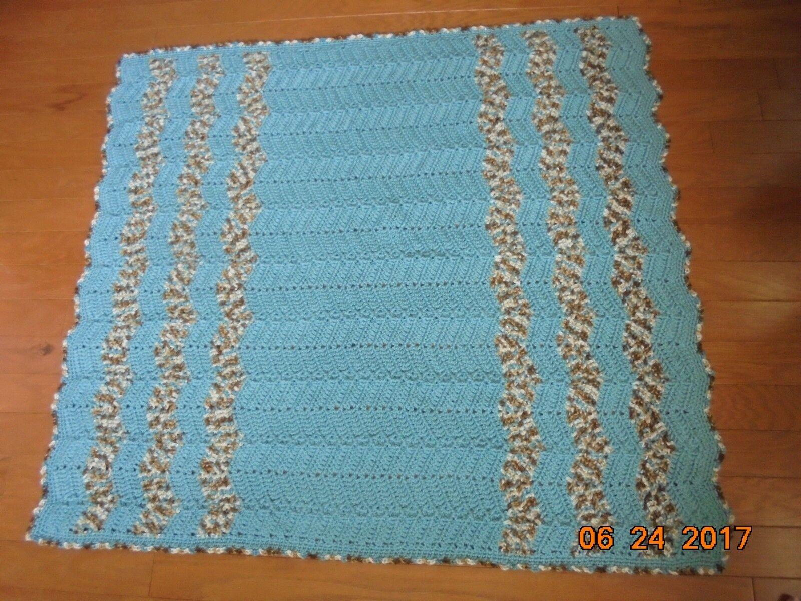 Handmade Crocheted Afghan Blanket New Seafoam and Icy Pond