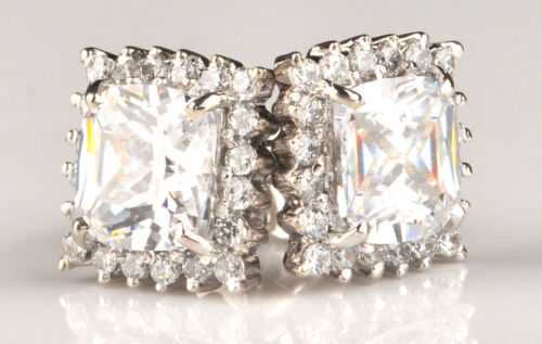 Real Solid 14KT White Gold 8.20 Carat Cushion Shape Solitaire Women/'s Studs