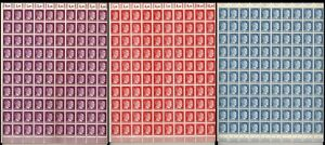 Lot Stamp Germany 3 Sheet 1941 WWII 3rd Reich War Hitler Heads Hitler MNH