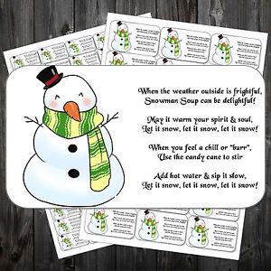 Mignon Bonhomme de neige soupe Autocollants x 42 #2