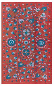 4.4x7 Ft Central Asian Suzani Textile. Embroidered Cotton & Silk Bed Cover