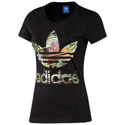 Adidas Originals Girls Damen Trefoil Flower Floral T-Shirt Blumen Top NEU SALE