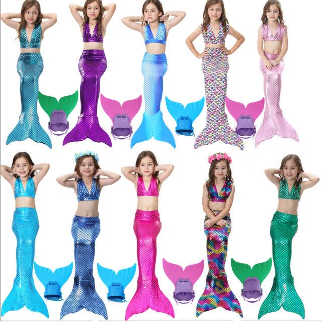 Swimmable Mermaid Tail Monofin Mono Fins Girls Kids Bikini Set Swimming Costume
