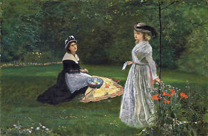 Hand-painted-oil-painting-John-Atkinson-Two-young-women-in-spring-garden